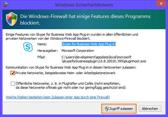 Lync Skype for Business Web App Plug-In Sicherheitshinweis
